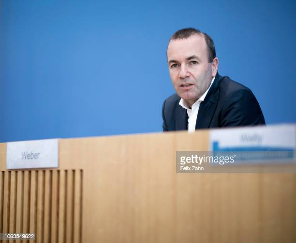 Manfred Weber a member of the Bavarian Christian Democrats speaks to the media German Foreign Minister Heiko Maas meets on November 19 2018 in Berlin...