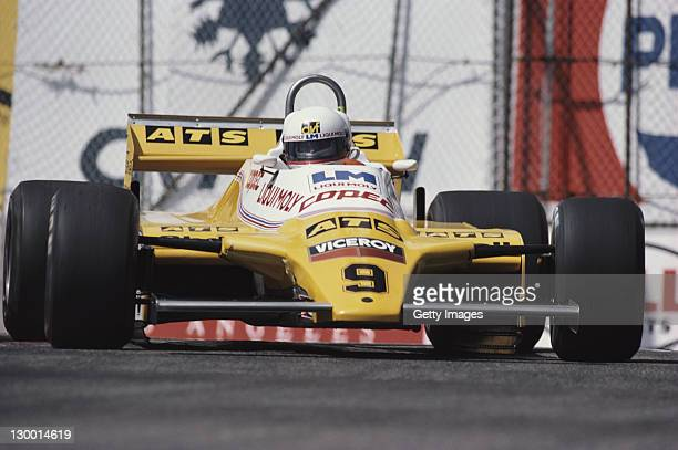 Manfred Winkelhock of Germany drives the Teams ATS ATS D5 Ford Cosworth DFV 3.0 V8 during practice for the Toyota Grand Prix of Long Beach on 3rd...