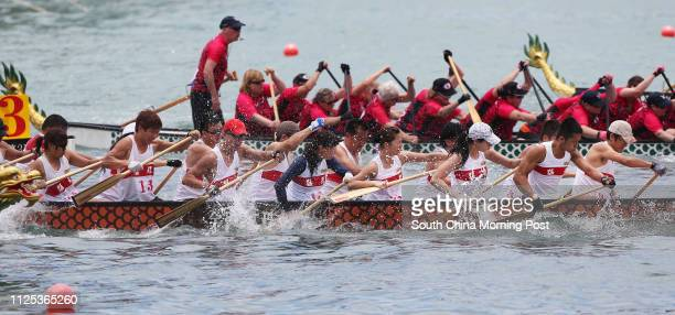 Mang Lung Dragon Boat Teamin white shirt in action during Lee Kum Kee 8th International Dragon Boat Federation Club Crew World Championships at...