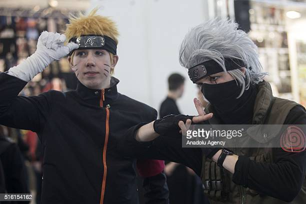 Manga and comic fans pose with costumes during Leipzig Book Fair and MangaComicCon launched within Leipzig Book Fair in Leipzig Germany on March 17...