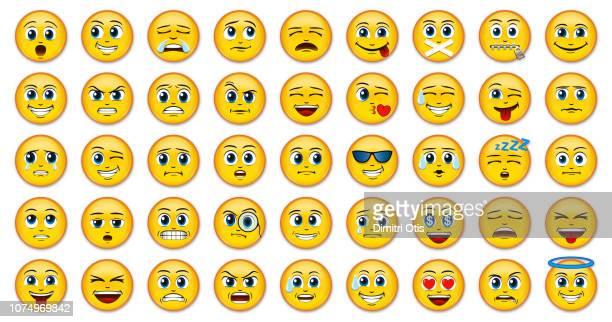 manga anime emoji emoticon badges on white background - emoji stock pictures, royalty-free photos & images