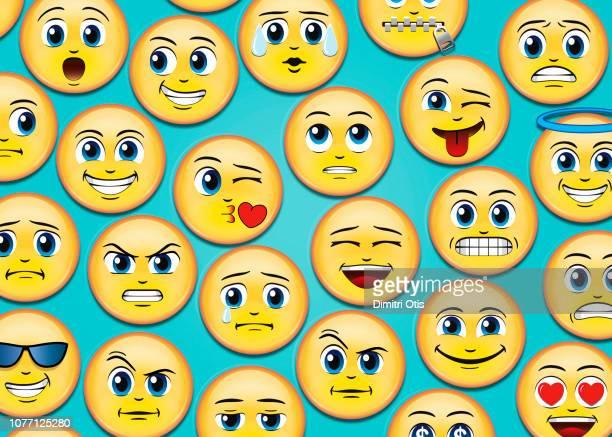 manga anime emoji emoticons on blue background - emoji stock pictures, royalty-free photos & images