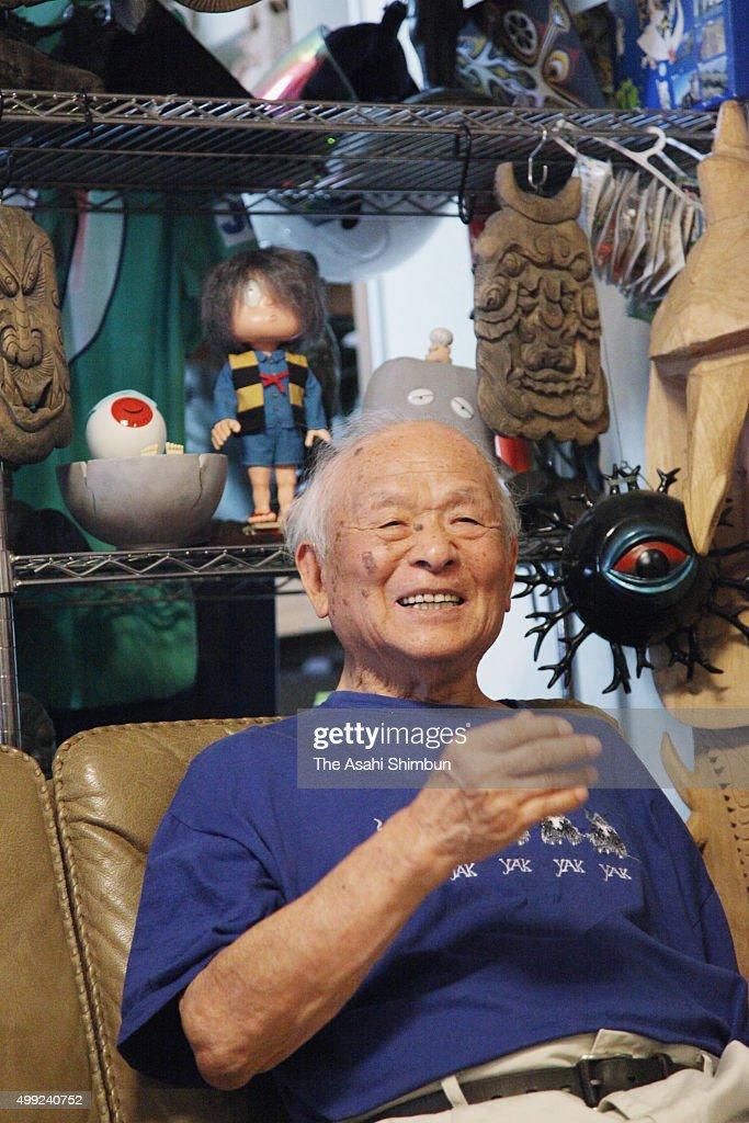 Manga artist Shigeru Mizuki is photographed during an interview on June 4, 2015 in Chofu, Tokyo, Japan