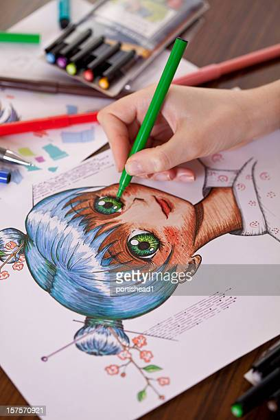 manga painter - anime stock photos and pictures