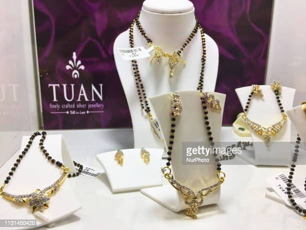Mangalsutra necklaces displayed at the upscale Mall of Travancore in Thiruvananthapuram Kerala India