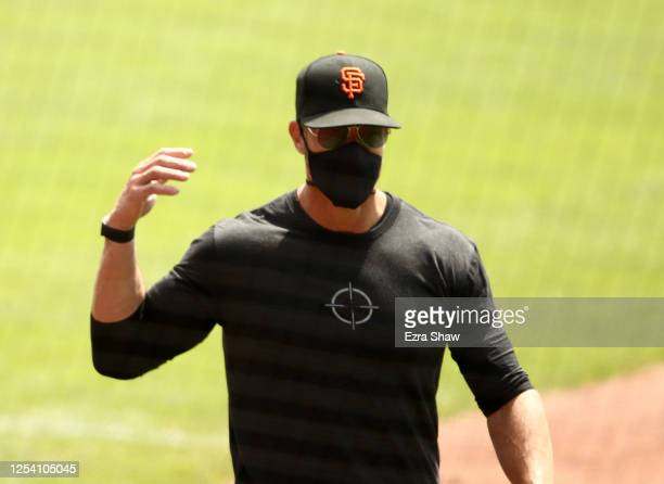 Manger Gabe Kapler of the San Francisco Giants walks to the dugout during summer workouts at Oracle Park on July 03, 2020 in San Francisco,...