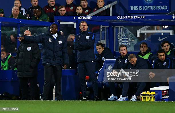 QPR manger Jimmy Floyd Hasselbaink shouts orders from the touch line during the Sky Bet Championship match between Queens Park Rangers and Burnley at...