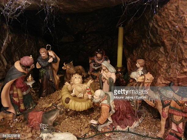 Manger Scene At Birth Of Jesus Christ