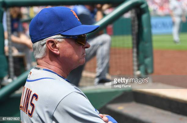 Manger Terry Collins of the New York Mets watches the game in the second inning against the Washington Nationals at Nationals Park on April 29 2017...
