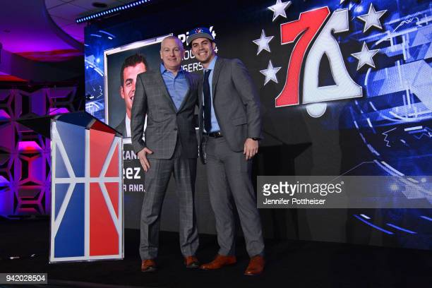 Manging Director of the NBA2K League Brendan Donohue poses for a photo with Alexander Bernstein aka Steez after being selected during the NBA2K Draft...