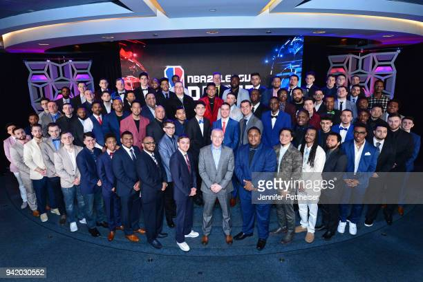 Manging Director of the NBA2K League Brendan Donohue poses for a group photo with the NBA2K Draftees before the first annual NBA2K Draft on April 4...