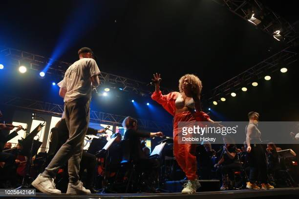 Mango and Erica Cody performs at 2FM Live: The Story of Hip Hop with the RTE Concert Orchestra Electric Picnic 2018 at Stradbally Hall Estate on...