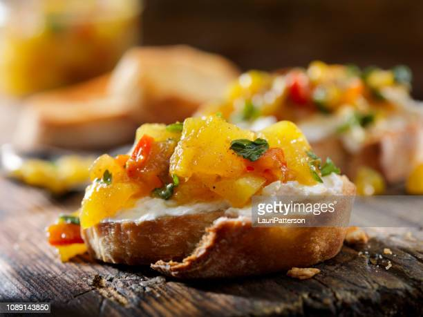 Mango Chutney Crostini with Cream Cheese
