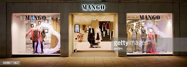 Mango clothing store shop window, sign and logo