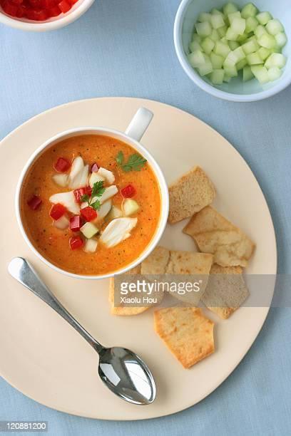 Mango crab gazpacho soup