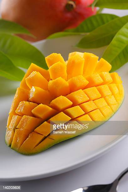 Mango cubes cutting in  plate