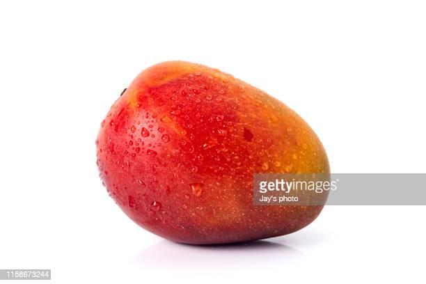 mango fruit with water drops on white background - mango stock-fotos und bilder