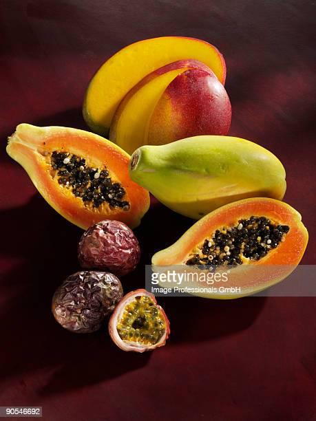 Mango, papaya and passion fruit, close up