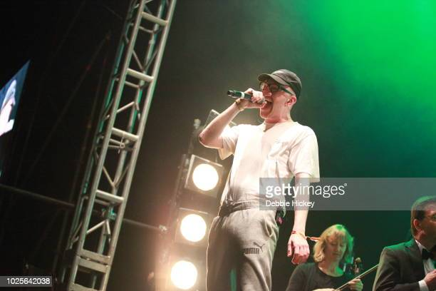 Mango performs at 2FM Live: The Story of Hip Hop with the RTE Concert Orchestra Electric Picnic 2018 at Stradbally Hall Estate on August 31, 2018 in...