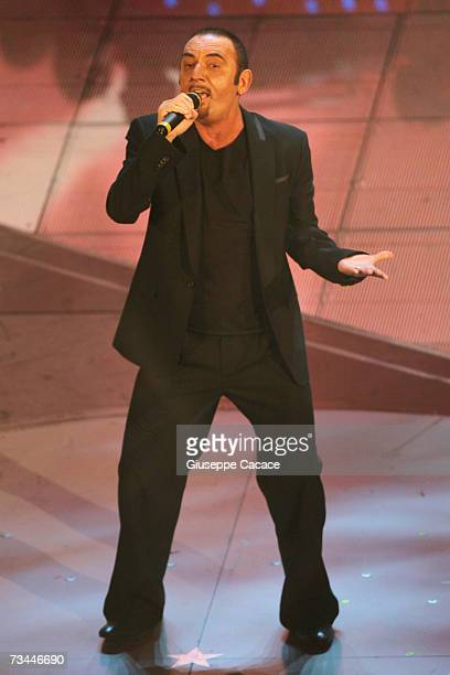 Mango performs on stage during the first day of the 57th San Remo Music Festival at Teatro Ariston on February 27 2007 in San Remo Italy
