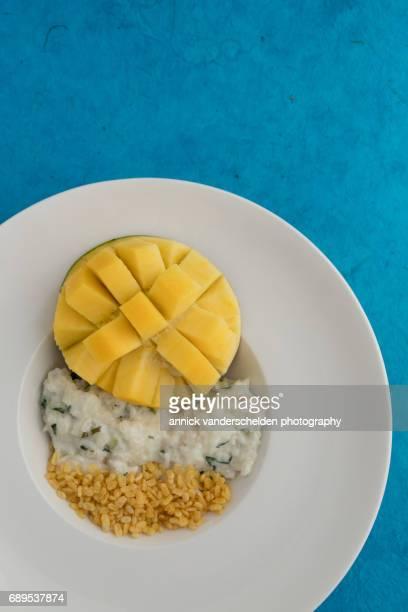 Mango with coconut sticky rice.