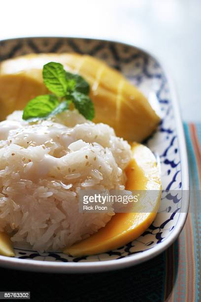 Mango with sticky rice and coconut milk