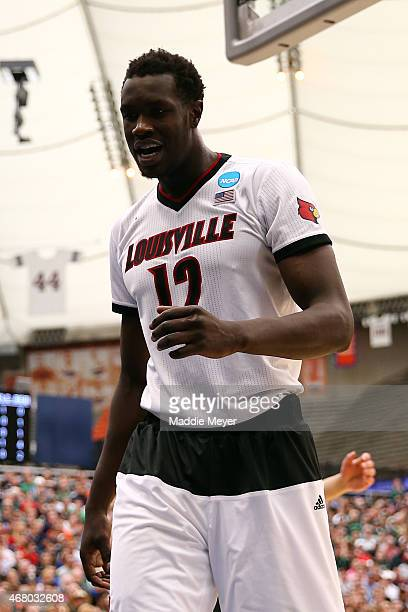 Mangok Mathiang of the Louisville Cardinals looks on in the first half of the game against the Michigan State Spartans during the East Regional Final...