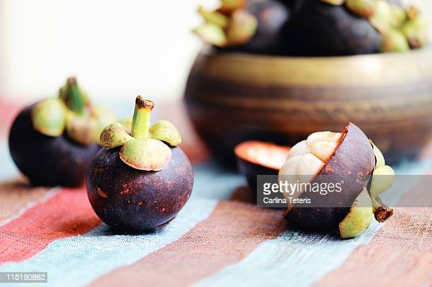 mangosteens - mangosteen stock photos and pictures