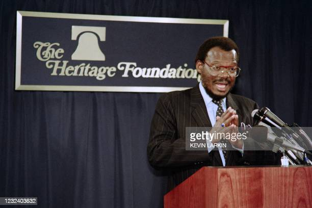 Mangosuthu Buthelezi, chief of the South African Zulu tribe and leader of the Inkatha Freedom Party, speaks to a meeting organized by a conservative...