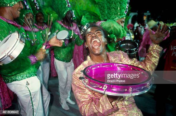 Mangueira Samba School drumming wing drumming section or bateria a kind of orchestra of percussion instruments that accompany the singer and lead the...