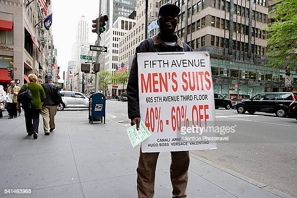 Manhattan, 5th Avenue, man wearing a sandwich board