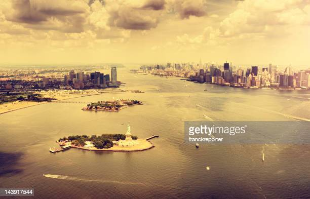 Manhattan aerial view , downtown from Helicopter
