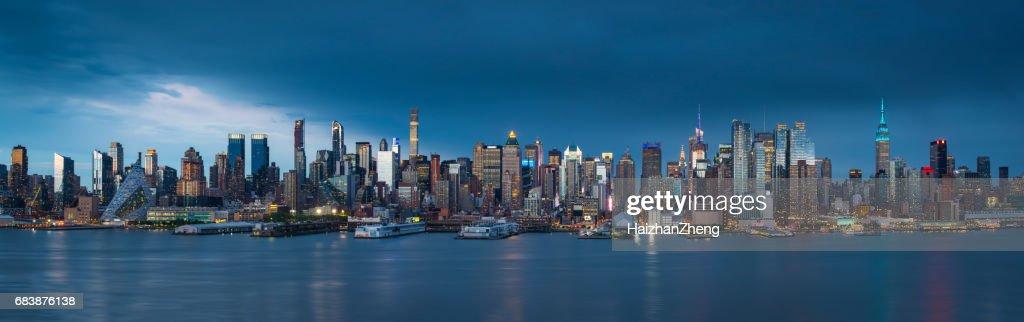 Manhattan after sunset : Stock Photo