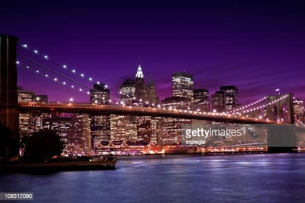 NYC, Manhattan and Brooklyn Bridge by night