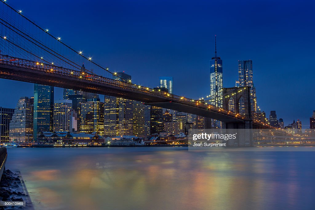 Manhattan at night : Stock Photo