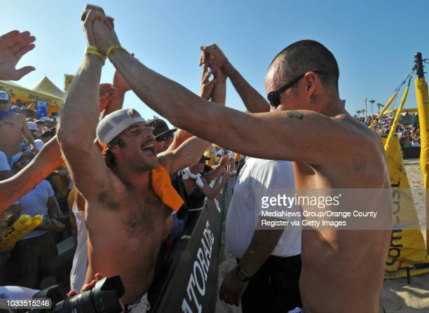 BEACH 07/19/09 AVP Manhattan Beach Open Men's Final Sean Rosenthal and Jake Gibb defeated Matt Olson and Kevin Wong Jake Gibb is greeted by fans...