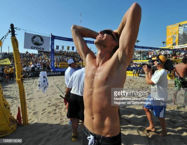 BEACH 07/19/09 AVP Manhattan Beach Open Men's Final Sean Rosenthal and Jake Gibb defeated Matt Olson and Kevin Wong Jake Gibb celebrates his victory