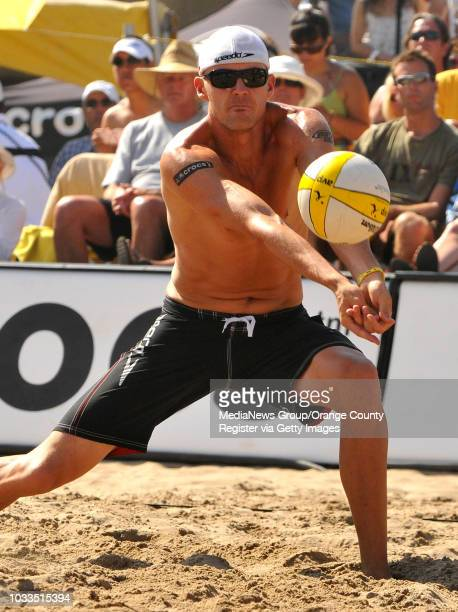BEACH 07/19/09 AVP Manhattan Beach Open Men's Final Sean Rosenthal and Jake Gibb defeated Matt Olson and Kevin Wong Jake Gibb lunges for a save