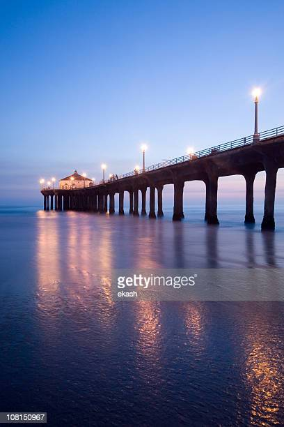 manhattan beach pier at dusk - south stock photos and pictures