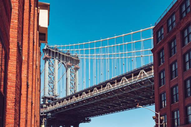 Manhattan Bridge against blue sky in Dumbo neighborhood