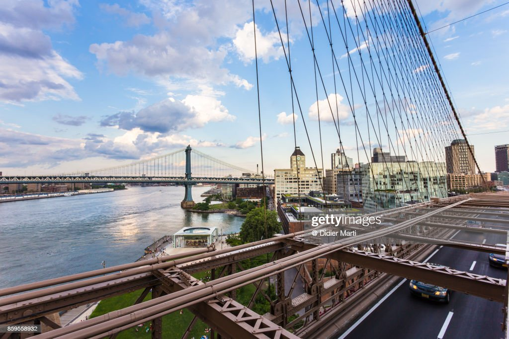 Manhattan bridge and East river in New York City : Stock Photo