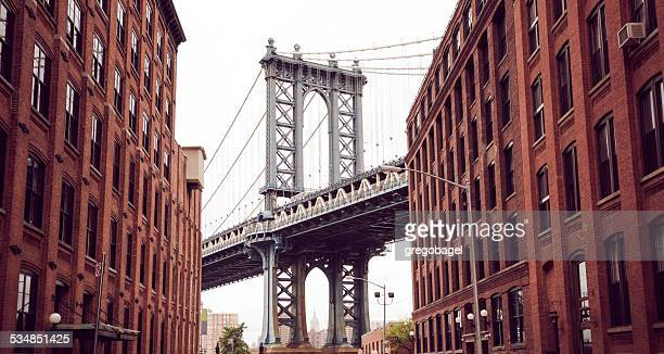 Manhattan Bridge as seen from Brooklyn in New York City