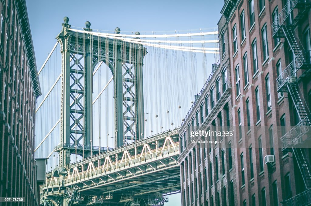 Manhattan Bridge as seen from Washington Street DUMBO Brooklyn New York City : Stock Photo
