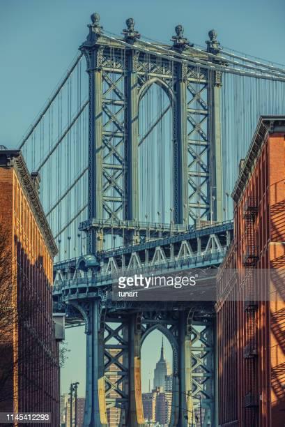 manhattan bridge, brooklyn, new york city, usa - brooklyn new york stock pictures, royalty-free photos & images