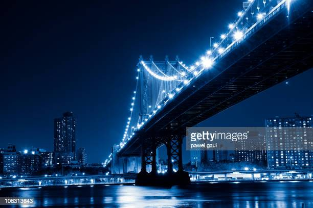 Manhattan bridge by night, toned image