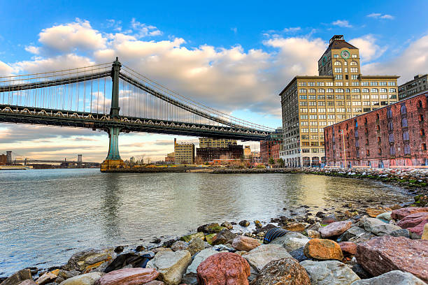 Manhattan bridge during sunset