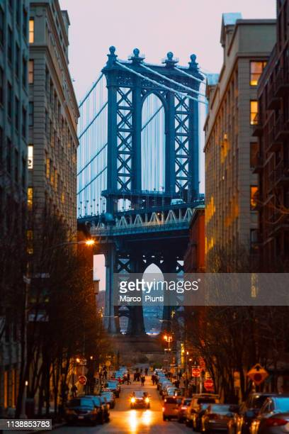 manhattan bridge, nyc - dumbo famous view - dumbo stock pictures, royalty-free photos & images