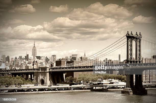Manhattan Bridge, NYC. Vintage Style
