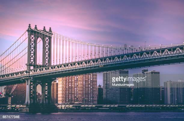 Manhattan Bridge of New York City at Sunset