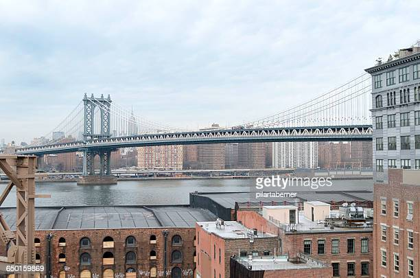 Manhattan Bridge seen from Brooklyn, New York, America, USA